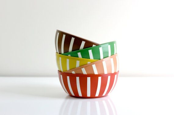Vintage Deka Striped Plastic Bowls by WiseApple on Etsy, $34.00