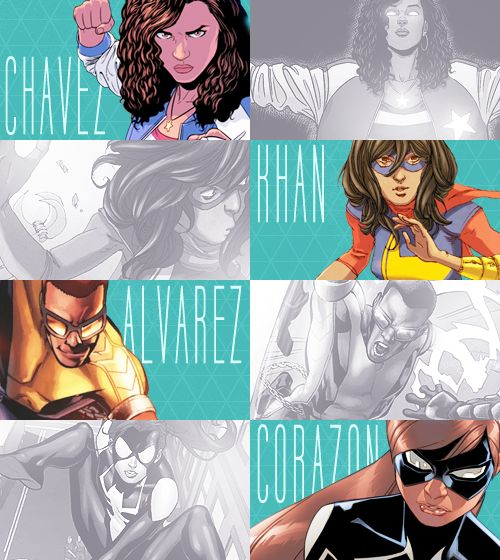 YOUNG ALLIES:America Chavez(Miss America), Kamala Khan(Ms Marvel), Victor Alvarez(Power Man), Anya Corazon(Spider-Girl)