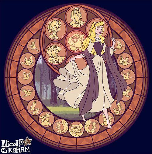 Walt Disney movie Sleeping Beauty princess Aurora stained glass style