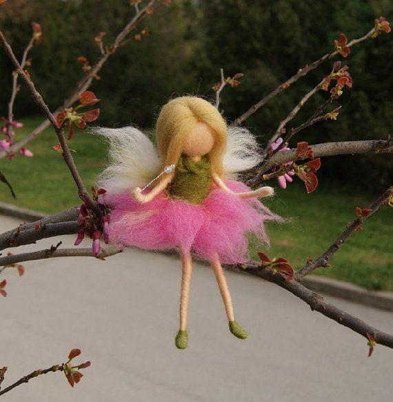 Little Wool FairySitting fairy needle felt fairy by DemannaArt