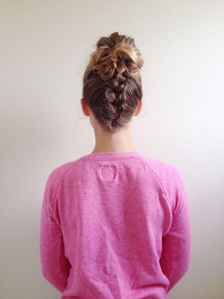 Dutch braid into a messy bun