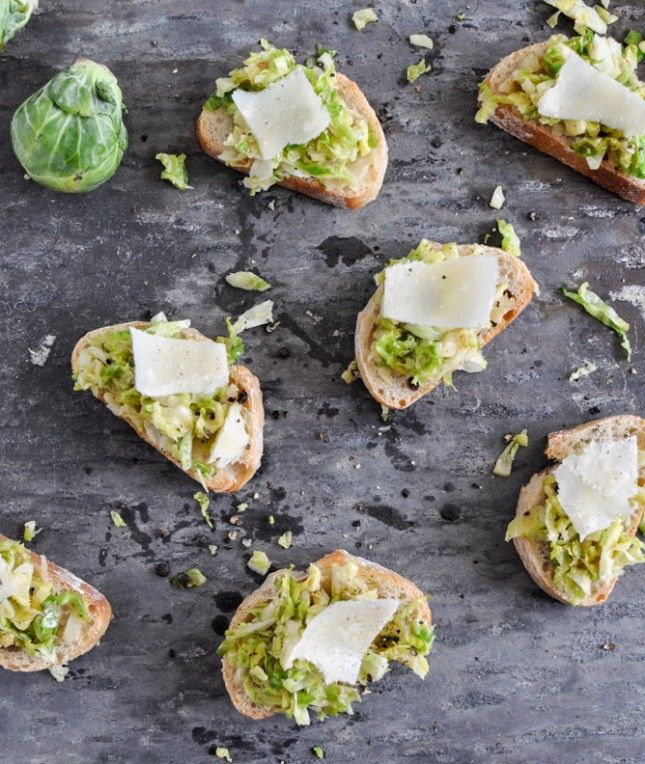 Shredded Brussels Sprouts And Parmesan Crostini