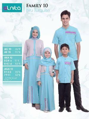 Baju Sarimbit Alnita Family 10 Biru Turquise