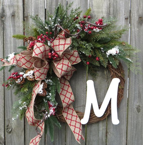 Christmas wreath door wreath holiday wreath, snowy wreath monogram wreath grapevine burlap color, elegant quatrefoil ribbon, horns handmade