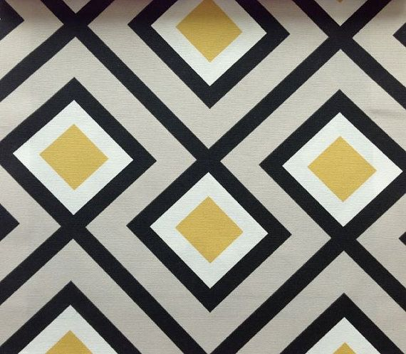 One Yard - Retro geometric pattern in beige with detail in mustard yellow, black and white on Etsy, £31.21