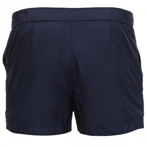 SHORT BOARDSHORTS WITH ADJUSTABLE WAIST STRAPS Oxford Court lightweight technical fabric Boardshorts with two front pockets, one with zip, fixed waist with hidden adjustable drawstring, adjustable straps at the waist with snaps, flange with logo sewn on the bottom, internal mesh, Robinson Les Bains rubber label sewn inside, snap button fly. COMPOSITION: 100% POLYESTER. Lining: 92% POLYAMIDE, 8% ELASTANE. Our model wears size L, he is 189 cm tall and weighs 86 Kg.