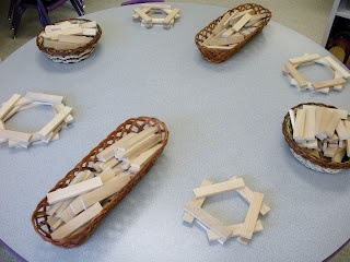 block provocation... Small table blocks. Could also add loose parts.