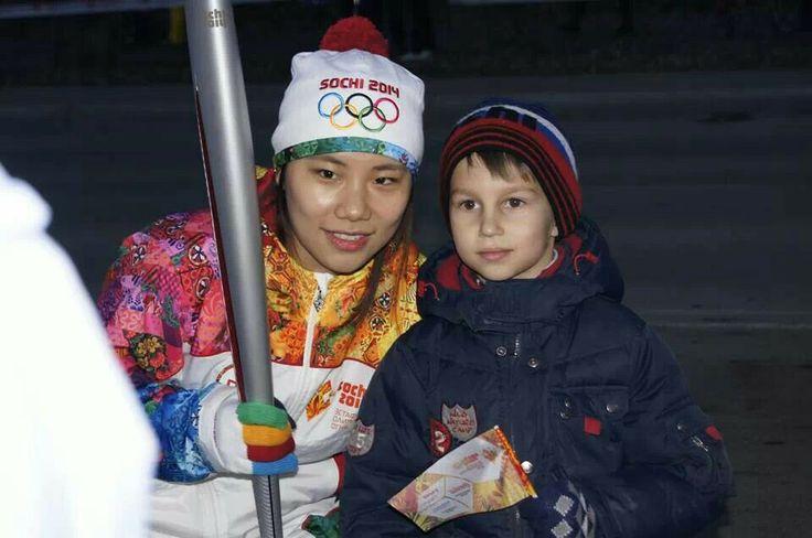 2014소치동계올림픽대회 성화봉송주자로 참여한 진선유 선수