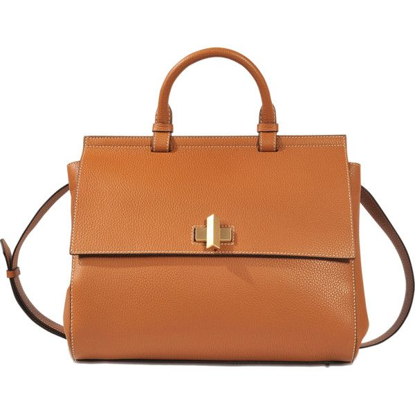 Hugo Boss Bespoke medium bag (3,625 ILS) ❤ liked on Polyvore featuring bags, handbags, brown, brown purse, orange handbags, orange purse, brown bag and brown handbags