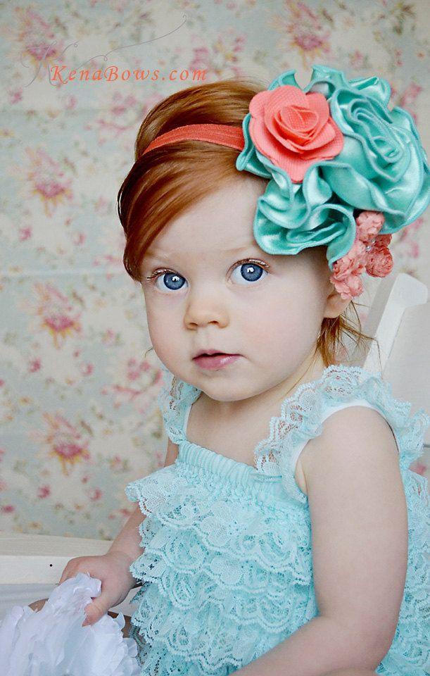 Grand Mint Satin Bloom, Coral Rose on Soft Stretchy Elastic Headband, Girl, Birthday, Photography Prop. $12.95, via Etsy.