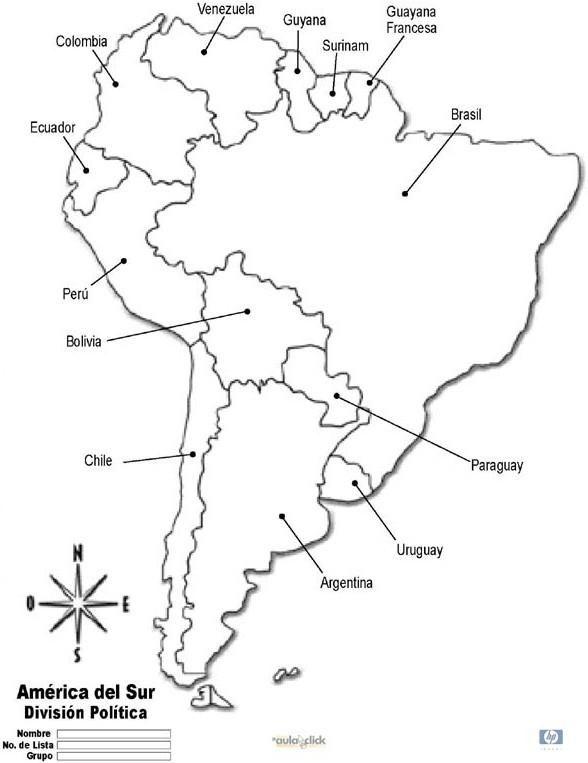 mapa america do sul para colorir