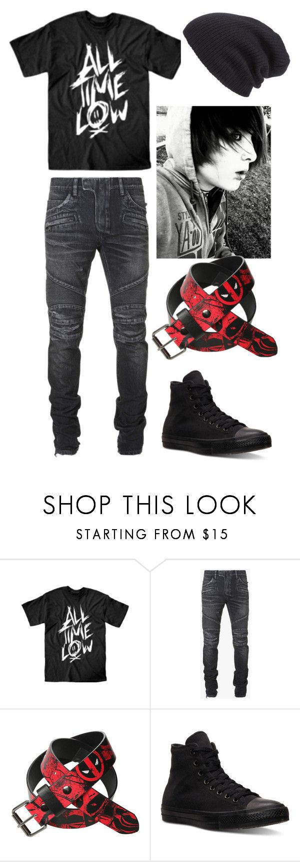 """Emo"" by jaclaypool on Polyvore featuring Balmain, Converse, Leith, mens, men, men's wear, mens wear, male, mens clothing and mens fashion"