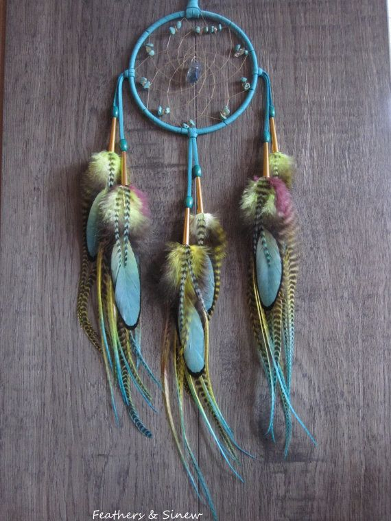 Dream Catcher Turquoise Deerskin Leather with by FeathersandSinew
