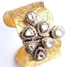 Fashion Jewellery Designer-Frost Yourself Gold Cuff Hand beaten Gold Cuff with a cluster of Cubic Zirconia's