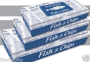 Great British Fish AND Chips Paper Boxes HOT Food Takeaway Packaging X 100   eBay