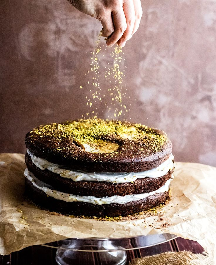 Flourless Chocolate Pistachio Pear Naked Layer Cake. A paleo flourless ...