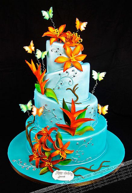 turquoise cake with birds of paradise and butterflies by Design Cakes, via Flickr