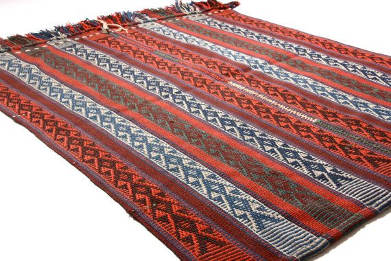 Savak- Classic Vintage Turkish Kilim 100% wool  in red green hard wearing carpet - 134x100cm / 4.4x3.2inches