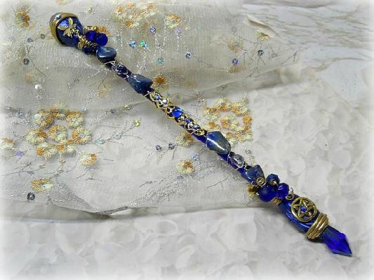 Cobalt Blue Lapis Lazuli Fairy Pentacle Magic Wand wiccan altar
