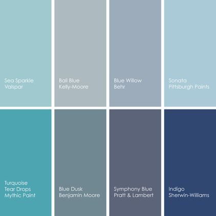 Blue Paint Picks For Kitchens Clockwise From Top Left 1 Sea Sparkle 5003 7b Valspar 2 Bali Km3795 Kelly Moore 3