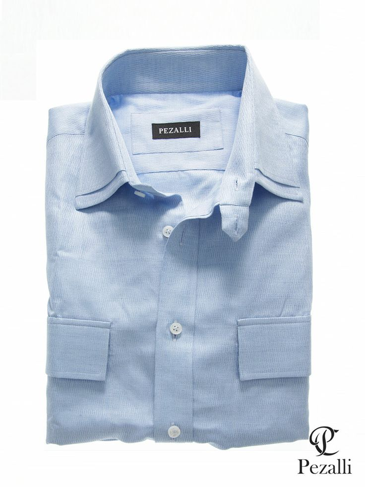100% Egyptian Cotton shirt in pastel blue with designer double layer collar with tab. 2 front patch pockets.