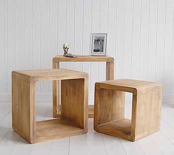 Driftwood nest of tables furniture.White and grey storage furniture for your hall. Ideas for decorating a white beach hall in a coastal style white home. Hallway furniture for homes in coastal, Scandi, New England and French styles. Ideas in how to decorate your hall.