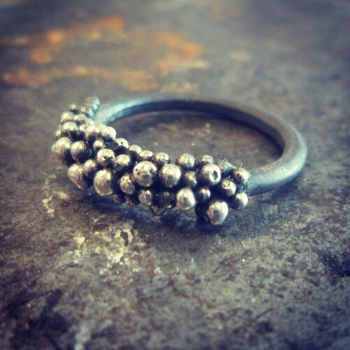 Oxidised sterling silver ring with granulation by lil Rose Jewellery.