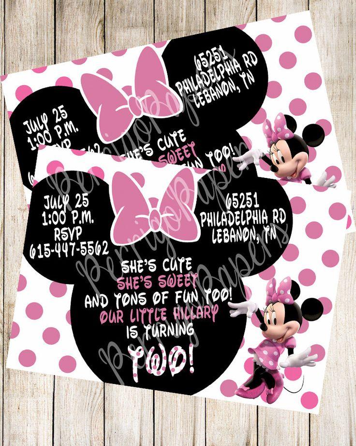 indianjones birthday party invitations printable%0A Custom Digital Pink Polka Dot   Minnie Mouse Bow   Birthday Party  Printed   Printable