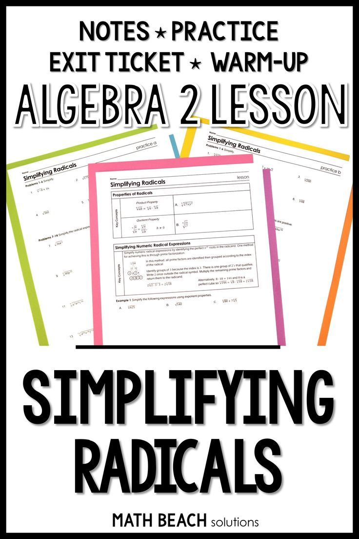 Simplifying Radicals Lesson Simplifying Radical Expressions Algebra Lesson Plans Simplifying Radicals