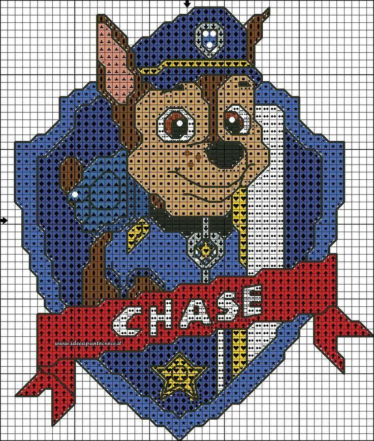 Hola!! Hoy os dejo unos patrones para punto de cruz de la patrulla canina. Seguro que a vuestros hijos les encantarán unas toallas de Chase o una mochila con Marshall.