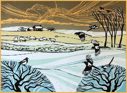 Magpies in the Snow, Rob Barnes Linocut