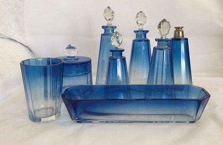 Beautiful Vintage Val St Lambert Crystal Blue & Clear Panel Cut 8-pcs Vanity Set