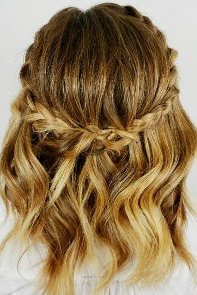 Halo Braid Waves Braided Hairstyles For Short Hair Everyday