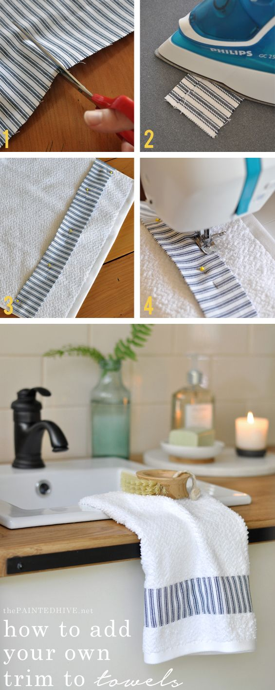 Fantastic tutorial for dressing-up plain towels using fabric or ribbon