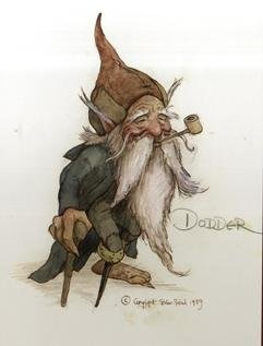 Old Pappy Gnomie loved his pipe and his fiddle. Lost one leg, keeps how a riddle. Artist Brian Froud