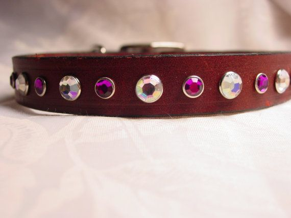 Crystal Decorated Leather Dog Collar by Frisado on Etsy