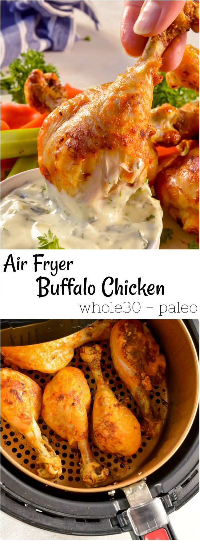 Are you crazy excited to start cooking with your air fryer!?!? These Buffalo Chicken Air Fryer Chicken Legs are perfect for beginners. All that great Buffalo Chicken Wing taste without the fat from deep frying. Plus, we are using chicken drumsticks for a meatier meal! #airfryer #buffalochicken #whole30 #paleodiet