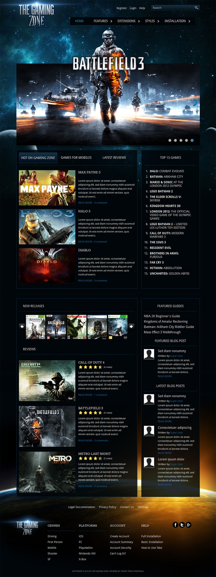 "Create own #website about video #games with new hot #Joomla 2.5 template from Hotjoomlatemplates ""Gaming Zone"""