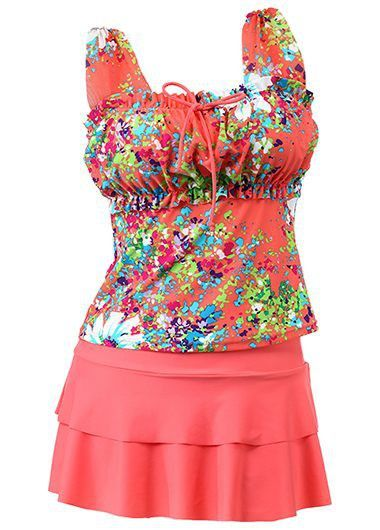 Cute Coral Floral Tankini Top With Layered Swim Skirt