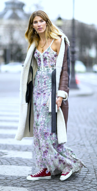 Veronika Heilbrunner in Alexander McQueen drees and Acne coat. Paris Couture Week, Spring 2016.