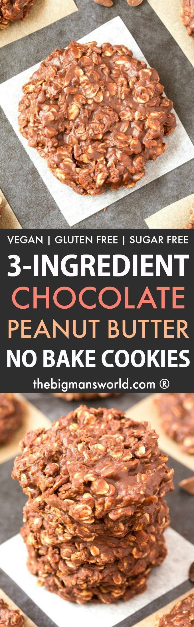 3-Ingredient No Bake Chocolate Peanut Butter Oatmeal Cookies (Gluten Free, Vegan, Sugar Free)- Make this easy no bake chocolate peanut butter cookies recipe which takes 5 minutes and needs just 3 ingredients- Soft, chewy and with a peanut-free option! #nobakecookies #chocolate #peanutbutter #glutenfree #vegan #sugarfree | Recipe on thebigmansworld.com