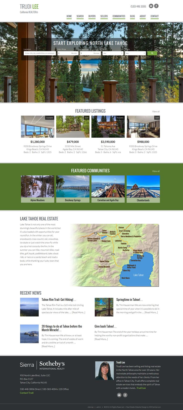 """California - View REALTOR Trudi Lee's new responsive real estate website built from our semi custom website design called """"San Francisco."""" View at http://www.northtahoehomes.com/ Learn about our responsive real estate Wordpress themes at www.IDXCentral.com"""