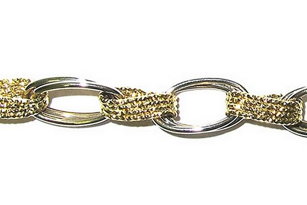 """Woman´s chain bracelet """"Esedra"""", white and yellow gold, titled 750/1000 , 18 Kt."""