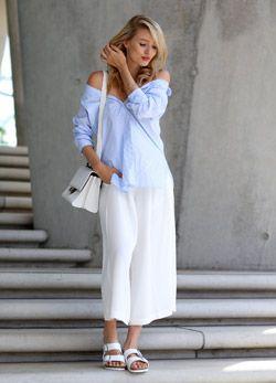リゾートチックに着れる白スカーチョ♡スカーチョコーデ♡スタイル・ファッションの参考に♪