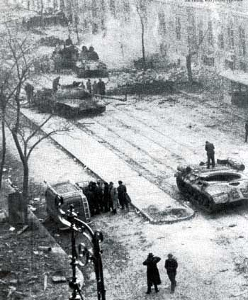 Budapest 1956 :Disabled Soviet tanks in Budapest after the Soviet invasion.