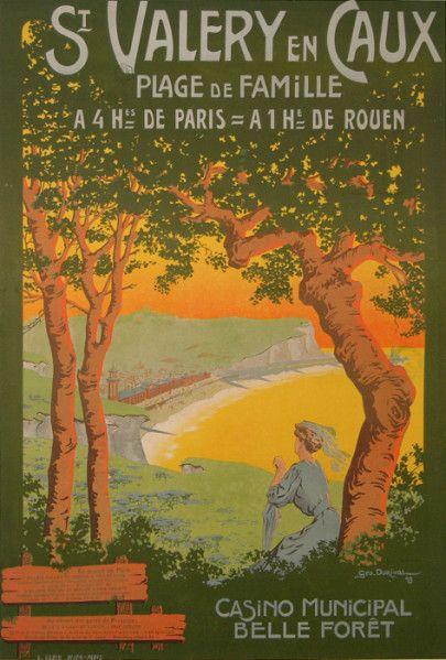 Vintage Travel Poster - St. Valery en Caux - Plage de Famille.