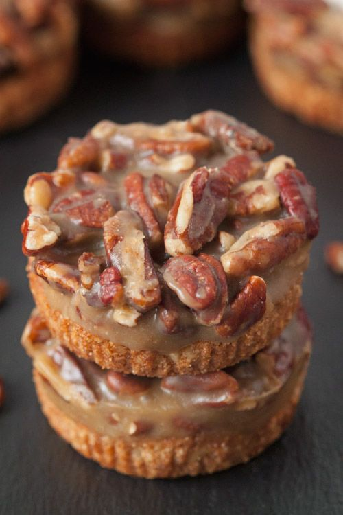 These grain-free and gluten-free mini caramel pecan tarts couldn't be any easier and are the perfect end to Thanksgiving dinner!