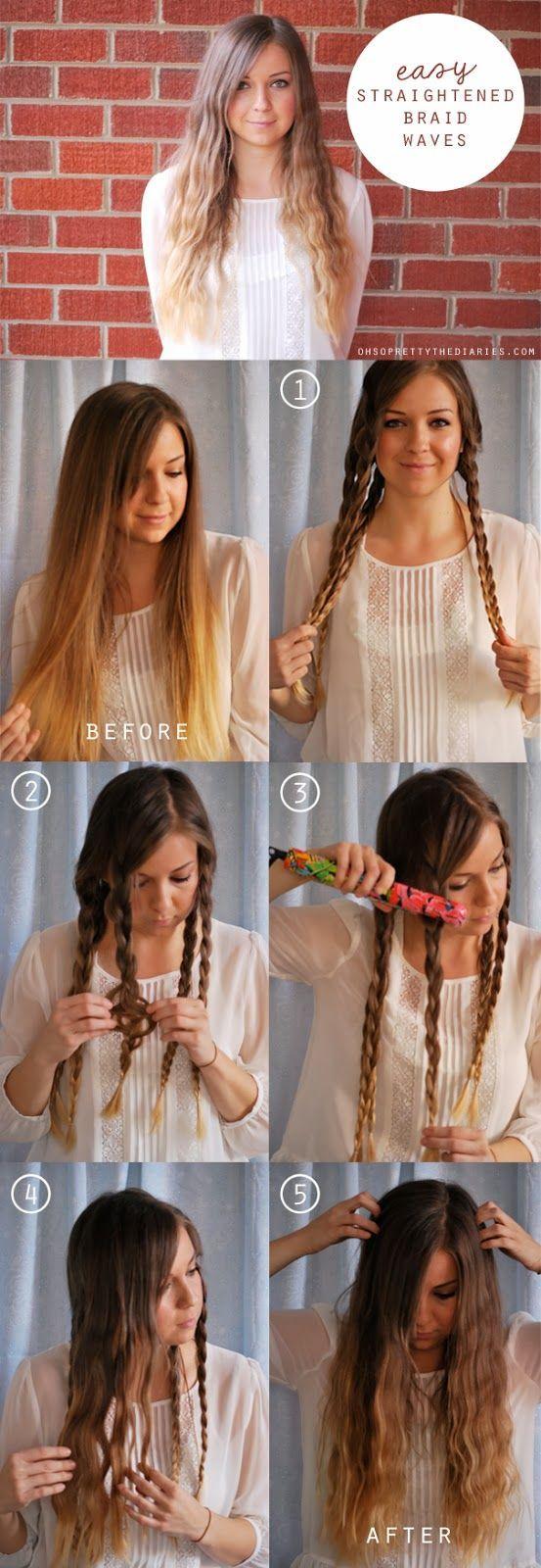 Easy Straightened Braid Waves