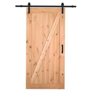 Masonite, 36 in. x 84 in. Z-Bar Knotty Alder Interior Barn Door Slab with Sliding Door Hardware Kit, 47606 at The Home Depot - Mobile