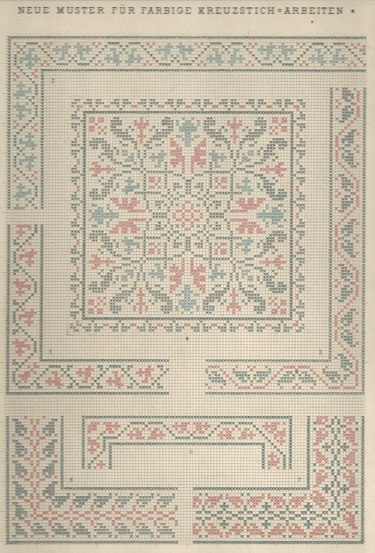 1 / Blatt 1 Textilbibliothek St. Gallen - Neue Muster-Vorlagen Fur Farbige Kreuzstich-Arbeiten - A. Scheffers - Published by J. M. Gebhardt's Verlag, Leopold Gebhardt, 1887
